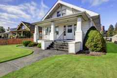 Typical American craftsman style house with column porch royalty free stock photo