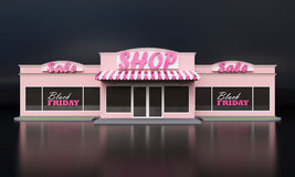 A typical American grocery store. The sale of goods. Sign black Friday. White isolated background. 3d illustration. Royalty Free Stock Photo