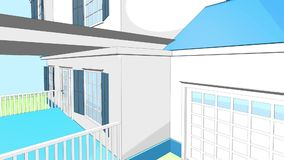 A typical American house. White-blue house 3D in a hand-drawn style. The camera flies through the porch stock video footage