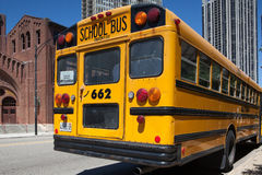 Typical american yellow school bus Royalty Free Stock Images