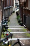 Typical Amsterdam bike view. One of the cannals in the centre of Amsterdam stock images