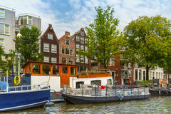 Typical Amsterdam canal, Holland, Netherlands. Stock Images