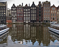 Typical Amsterdam Houses. With canal view royalty free stock photo