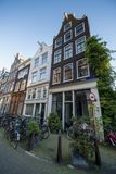 Typical amsterdam houses with bicycles Royalty Free Stock Photos