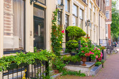 Typical Amsterdam street, Holland, Netherlands Stock Photography
