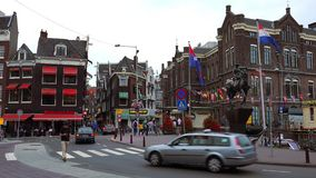 Typical Amsterdam street view  City of Amsterdam. Typical Amsterdam street view  Amsterdam Netherlands videoclip stock footage