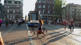 Typical Amsterdam street view in the city center - AMSTERDAM - THE NETHERLANDS - JULY 19, 2017. Typical Amsterdam street view in the city center - AMSTERDAM stock video