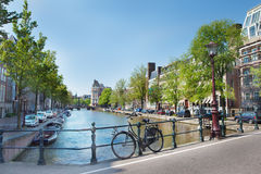 Typical Amsterdam. Views in the morning Royalty Free Stock Photography