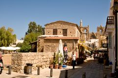 Typical ancient alley in Famagosta. FAMAGUSTA,NOTHERN CYPRUS - Old  street Stock Photos