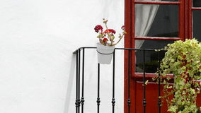 Typical Andalusian balcony, close up. Flower in a andalusian balcony stock video