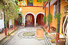 Typical andalusian courtyard In Seville, Spain. Royalty Free Stock Photography