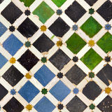 Typical Andalusian mosaic, Spain. Typical Andalusian mosaic, very colorful, geometric motifs Arab cultural origin. Andalusia, Spain Stock Photo