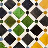 Typical Andalusian mosaic, Spain. Typical Andalusian mosaic, very colorful, geometric motifs Arab cultural origin. Andalusia, Spain Royalty Free Stock Images
