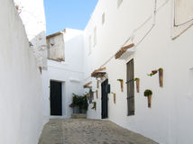 Typical Andalusian street with whitewashed houses Royalty Free Stock Photo