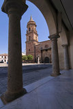 Church of San Miguel in Spain square next to the T. Own Hall of Andújar, Jaén province, Andalusia, Spain Royalty Free Stock Images