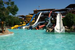 A typical Aqua Park. In a holiday Resort in Egipt, Hurghada Royalty Free Stock Photo