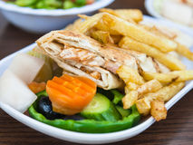 Typical arabian fast food Shawerma with chicken Royalty Free Stock Photo