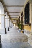 Typical arcades of old houses in the center of the city called B. Raga in Portugal Royalty Free Stock Photography