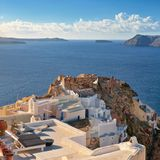 Typical architecture and Castle Ruins in Oia, Santorini, Greece Stock Image