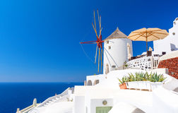 Oia village on Santorini island, Cyclades, Greece. Typical architecture on greek island cyclades Royalty Free Stock Photography