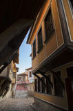 Typical architecture, historical Medieval houses, Old city street view with colorful buildings in Plovdiv, Bulgaria. Stock Photo