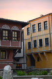 Typical architecture, historical Medieval houses, Old city street view with colorful buildings in Plovdiv, Bulgaria. Royalty Free Stock Image