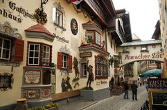 Typical architecture in Kufstein. Painted houses in the streets of Kufstein Stock Image