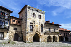 Typical architecture in Santillana del Mar, a famous historic town, Spain. Stock Image