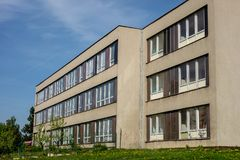 Typical architecture of school buildings built in communist era Royalty Free Stock Photo