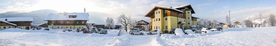 Typical architecture in a snowy Flachau, Austria royalty free stock photo