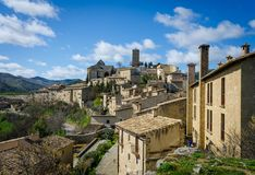 Typical architecture of Spanish medieval village with houses mad stock photography