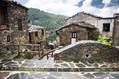 Typical architecture at Talasnal Schist Village. Lousa sierra, Lousa, Portugal stock photography