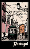 Typical architecture and tramway in Lisbon. Vector illustration Stock Image