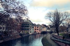 Architecture in waterfront in Alsace stock image