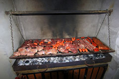 Typical argentinean parillada BBQ in Argentina or Chile. South America Royalty Free Stock Image