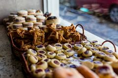 Typical argentinean snacks and treats on shop window in Ushuaia,. Blurred, shallow depth of field. Ushuaia, Patagonia, Argentina Royalty Free Stock Image
