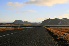 Typical asphalt street on Iceland Stock Photos