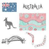 Typical australian symbols with aboriginal pattern. Illustration of typical australian symbols with aboriginal pattern, and sydney harbour bridge Vector Illustration