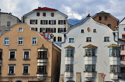 Typical austrian houses in Tyrol province Royalty Free Stock Image
