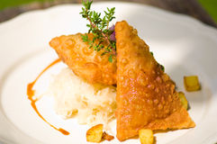 Typical Austrian meal, Fleischkrapfen with  pickled cabbage Royalty Free Stock Image