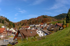 Typical, authentic village cozy houses of the countryside in the Germany autumn Stock Photo