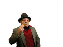 Typical Author Look. A man touting the typical author look,over white Stock Photo