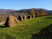 Autumn colours in Romania. Typical autumn colours Valea Doftanei village in Doftana River Valley, Prahova County, Romania Stock Images