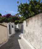 Typical backstreet in Megalochori, Santorini Stock Image
