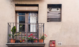 Typical balcony and door in Catalunya Royalty Free Stock Photos