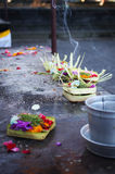 Typical Balinese oblation in Besakih temple Stock Photos