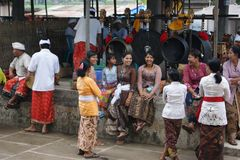 Typical balinese street scene royalty free stock photo