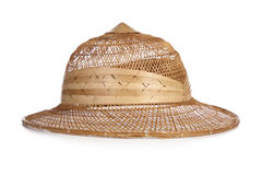 Typical bamboo hat. Tropical bamboo hat isolated on a white background Royalty Free Stock Images