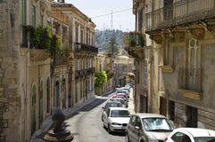 Typical baroque architecture in old city center, upper Modica on August 11, 2017, Sicily, Italy stock images