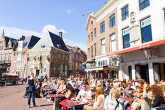 Typical bars with medieval architecture in Haarlem, The Netherlands Stock Photo